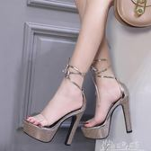 涼鞋女高跟鞋繫帶恨天高14cm超高跟鞋夜場粗跟防水台15情趣夜店女 奇思妙想屋