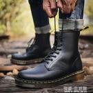馬丁靴男高幫冬季加絨棉鞋中幫男靴英倫百搭工裝靴大碼黑色靴子男 雙十二全館免運