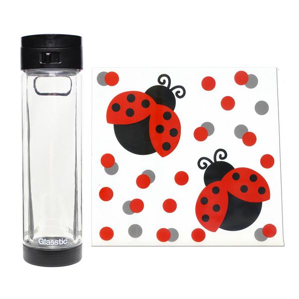Glasstic │ 安全防護玻璃水瓶 經典小LO款 (酷黑_瓢蟲圖卡) 470ml