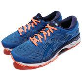 【六折特賣】Asics 慢跑鞋 Gel-Kayano 24 藍 橘 透氣穩定 反光 運動鞋 男鞋【PUMP306】 T749N4358