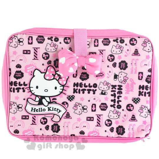 〔小禮堂〕Hello Kitty 車用折疊餐盤《粉.側坐.緞帶.交通號誌.立體蝴蝶結》 4901610-45243