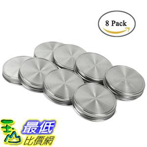 [107美國直購] 梅森瓶用蓋子 Polished Stainless Steel Storage Mason Jar Lids Caps with Silicone Seals 8Pack
