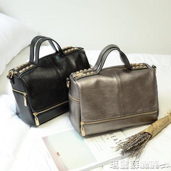 機車包 女包韓版復古機車包鉚釘軟皮女士大包包手提單肩斜挎包潮  瑪麗蘇
