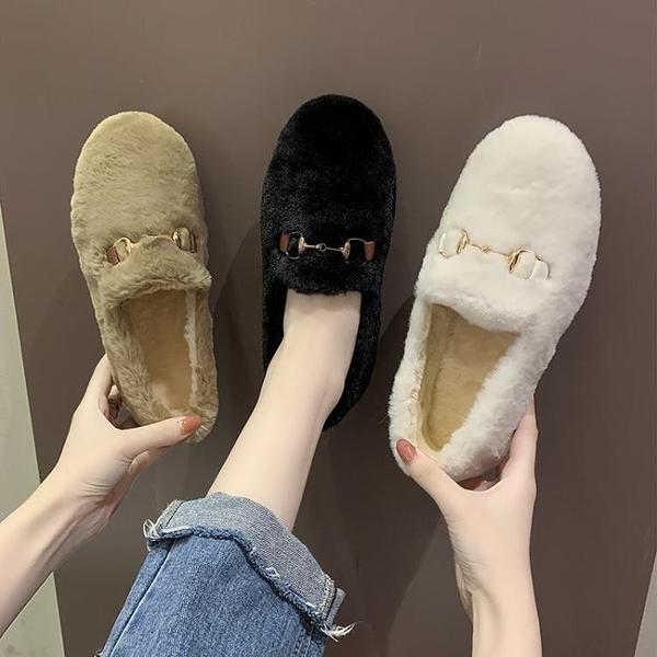 豆豆鞋 毛毛鞋女冬季外穿時尚加絨保暖棉鞋女秋冬季一腳蹬豆豆鞋 芊墨左岸