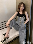 背帶褲哈倫牛仔背帶褲女韓版寬鬆直筒顯瘦2020年春季新款時尚高腰連體褲 愛丫愛丫