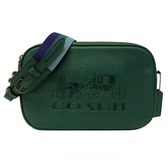 【COACH】大馬車LOGO雙層拉鍊牛皮斜背相機包(復古綠)