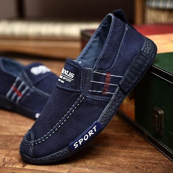 春季男鞋韓版潮流百搭老北京帆布鞋休閒板鞋男士一腳蹬懶人布鞋子 後街五號