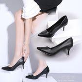 2018新款尖頭高跟鞋女細跟淺口中跟黑色單鞋性感時尚職業工作鞋子『小淇嚴選』