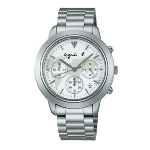 AGNES.B/時尚地圖腕錶/白/VD53-KQ00S