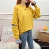 針織衫-假兩件韓版時尚休閒新款女毛衣2色73tp32[巴黎精品]
