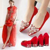 婚鞋婚鞋紅秀禾女紅色高跟鞋粗跟孕婦大碼結婚敬酒新娘鞋平底 初語生活