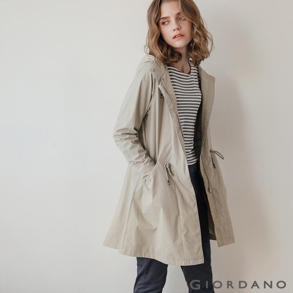 【GIORDANO】女裝長版連帽防風外套 - 91 土杏色