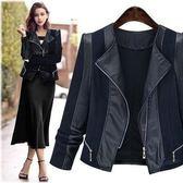 現貨不退換3XL胖MM職業氣質皮外套中大尺碼18163/歐美時尚pu短外套顯瘦時尚皮夾克