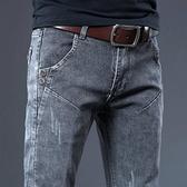 牛仔褲 牛仔褲 春夏季薄款彈力牛仔褲男士修身小腳韓版休閒復古灰色褲子男潮流
