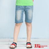 JJLKIDS 男童 經典水洗刷白牛仔五分褲(牛仔藍)