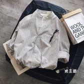 七分袖襯衫2018正韓新品男士條紋七分袖襯衫青少年打底襯衣小清新長袖春季潮(免運)