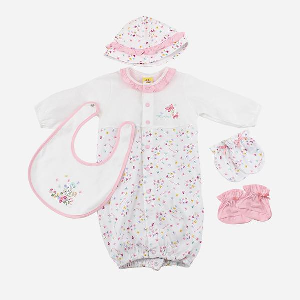 【愛的世界】純棉小蝴蝶長袖兩用嬰衣5件組禮盒/3~6個月-台灣製-  - ---禮盒推薦