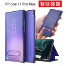 iPhone 11 Pro Max 免掀蓋接聽 手機殼 碳纖維紋 半透明皮套 翻蓋式保護套 支架 手機套 保護殼