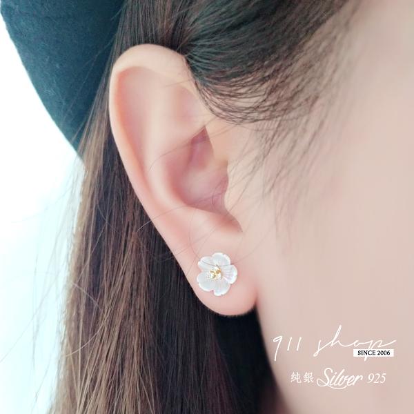 Favour.925純銀立體貝紋櫻花玫瑰穿針式耳環【s338】911 SHOP