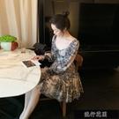 2021法式洋裝春夏新款印花收腰顯瘦復古長袖方領抽繩氣質裙【全館免運】