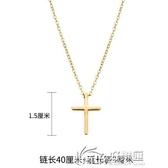 鍍金項鍊 18K鍍金歐美鈦鋼十字架項鍊男女項鎖骨鍊簡約配飾