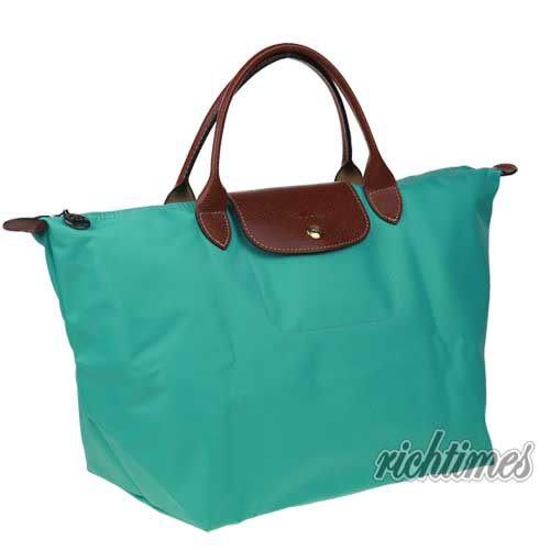 【裕代 LONGCHAMP】藍綠色水餃手提包(大) LC0C8129