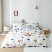 【eyah】台灣製200織精梳棉雙人床包新式兩用被五件組-韓國彩魚