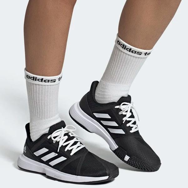 ADIDAS COURTJAM BOUNCE 男鞋 慢跑 網球 透氣 網布 避震 耐磨 黑 白【運動世界】EG1136