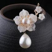 天然淡水珍珠貝殼胸針女飾品韓國高檔胸花