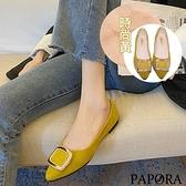 PAPORA方型尖頭平底休閒娃娃包鞋KK1948黑色/黃色/米色