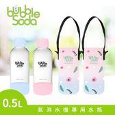 法國BubbleSoda 氣泡水機專用0.5L水瓶組-粉藍+粉紅(附專用保冷袋)