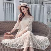 38折專區 韓國風一字領名媛氣質星星蕾絲短袖洋裝