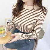 秋冬新款韓版條紋針織衫女外穿套頭毛衣寬鬆內搭打底衫上衣潮 韓國時尚週