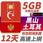 黑山/土耳其 12天 5GB高速上網 支援4G高速 還有包含歐洲多國可以同時使用