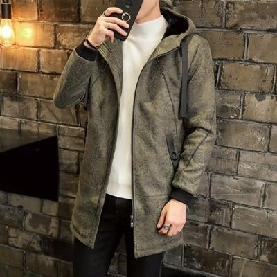 夾克外套-連帽中長版暗花紋個性皮革夾棉男外套2色73qa34[時尚巴黎]
