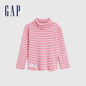 Gap女幼童 休閒條紋設計高領針織長袖 614946-粉紅色