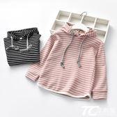 女童裝 2018春裝新款兒童純棉衛衣衫韓版男童女童連帽條紋長袖T恤姐弟裝