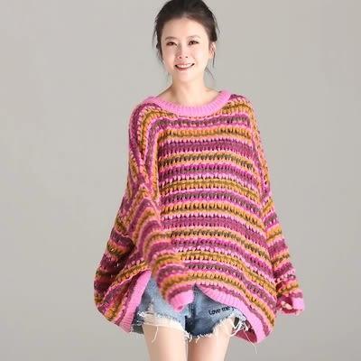 棉質毛衣 甜美 寬鬆 減齡 條紋 鏤空 針織毛衣-M1077-夢想家- 0918