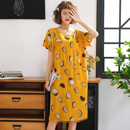 韓版加長款棉綢睡裙女士短袖加大碼睡衣夏季人造棉寬鬆舒適居家服 艾瑞斯「快速出貨」