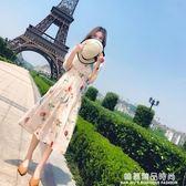 連身裙夏季2018新款女裝韓版顯瘦印花雪紡收腰超仙溫柔風中長裙子