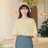 短袖T恤-寬鬆圓領字母印花女上衣2色73xn16[巴黎精品]