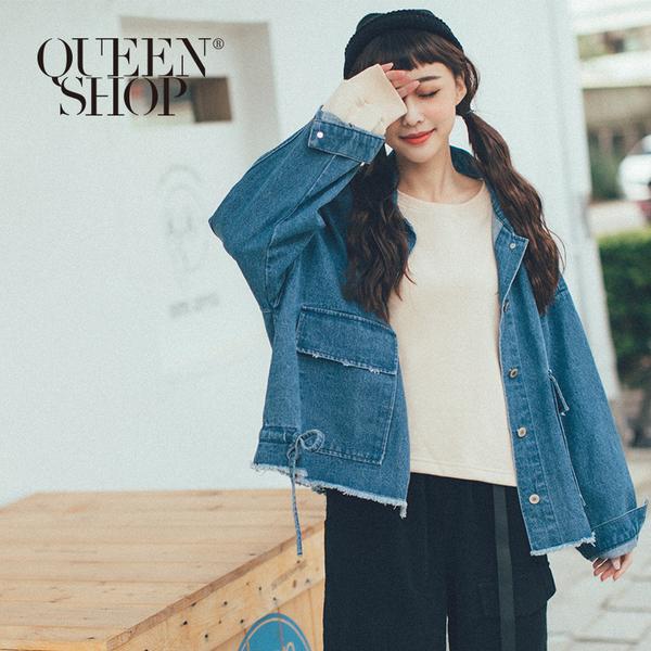 Queen Shop【02071161】鬚邊綁帶設計牛仔外套 兩色售*現+預*