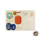 【收藏天地】印章明信片*愛睏貓頭鷹 ∕  印章 擺飾 送禮 趣味 文具 創意 觀光 記念品