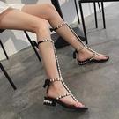 羅馬高筒綁帶涼鞋水鉆2021夏季新款一字扣帶珍珠平底長筒涼鞋女潮 快速出貨