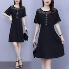 L-5XL胖妹妹大碼洋裝連身裙~大碼女裝蕾絲連身裙氣質中長款拼接鏤空小黑裙N181C莎菲娜