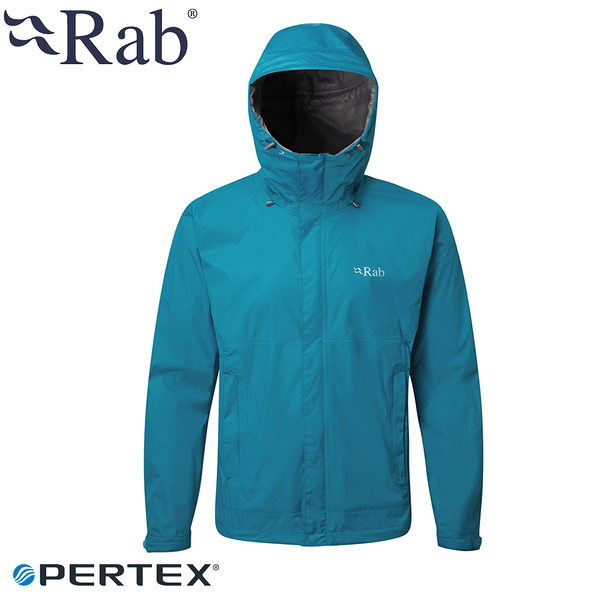 【RAB 英國 男 Downpour防水外套《蔚藍》】BQWF61/防風外套/連帽外套/防水夾克