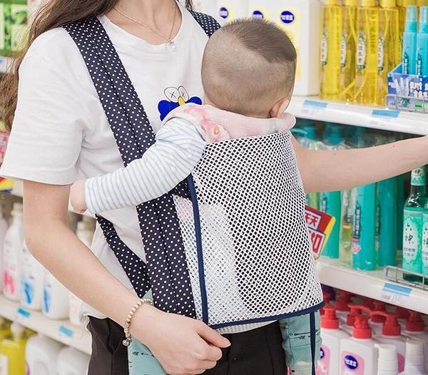 嬰兒背帶傳統后背式前后兩用寶寶老式背帶四爪輕便簡易夏季透氣網晴天時尚