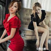 2019新款夏裝夜店女裝V領性感大碼顯瘦包臀修身紅色連身裙短裙子『艾麗花園』