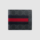 【雪曼國際精品】GUCCI 408827-KHN4N-1095 GG Supreme系列GG印花藍紅藍織帶折疊灰色8卡短夾-新品現貨