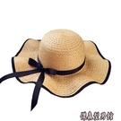 帽子女海邊夏季防曬大沿草帽太陽大帽檐沙灘遮陽帽遮臉百搭韓版潮 傑森型男館